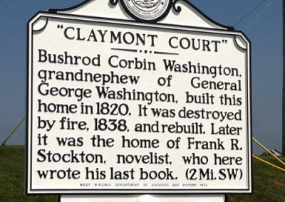 The Claymont Estate is reached from the intersection of Huyett Road and the 340 bypass, South of Charles Town.
