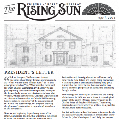 April 2016 Rising Sun Newsletter