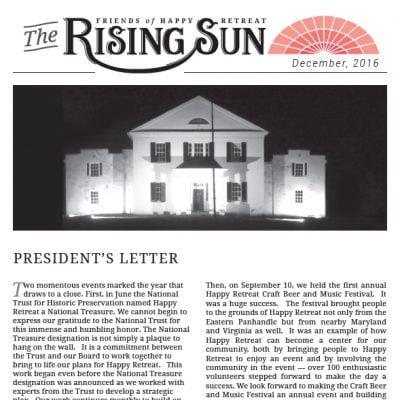 December 2016 Rising Sun Newsletter