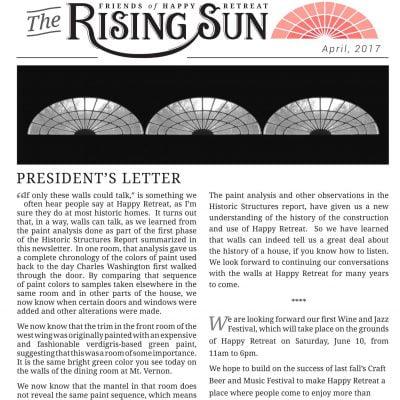 April 2017 Rising Sun Newsletter