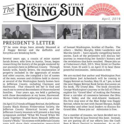 April 2019 Rising Sun Newsletter
