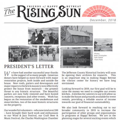 December 2018 Rising Sun Newsletter