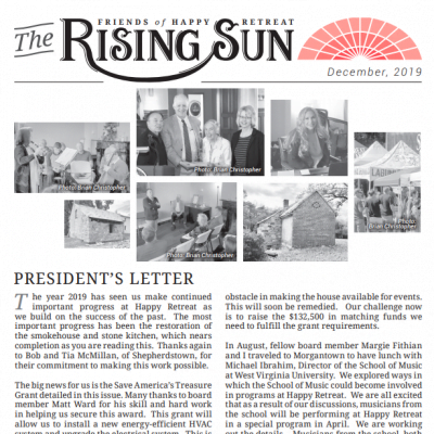 December 2019 Rising Sun Newsletter