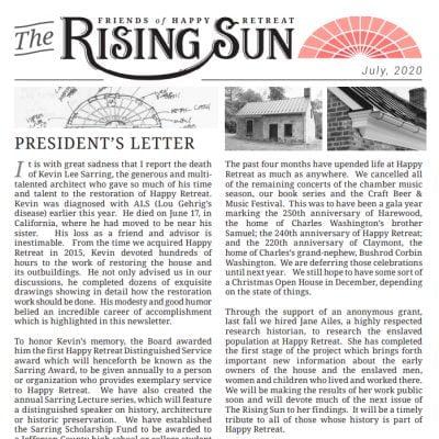 July 2020 Rising Sun Newsletter