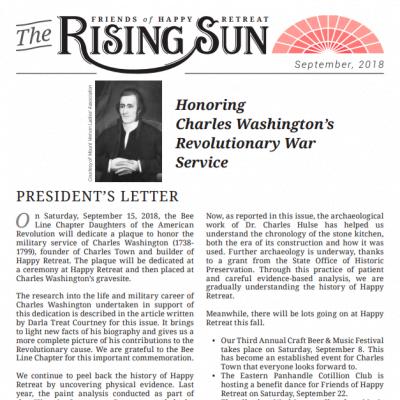 September 2018 Rising Sun Newsletter