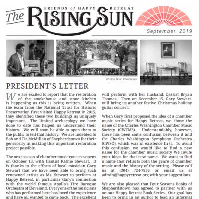 September 2019 Rising Sun Newsletter