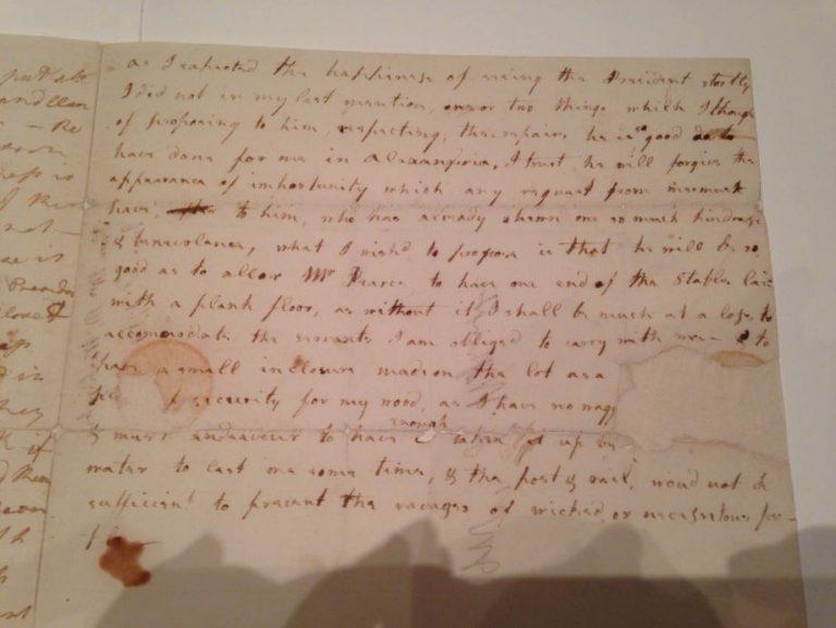 Historic Letter from Frances Bassett Washington to Martha Washington (March 1793)